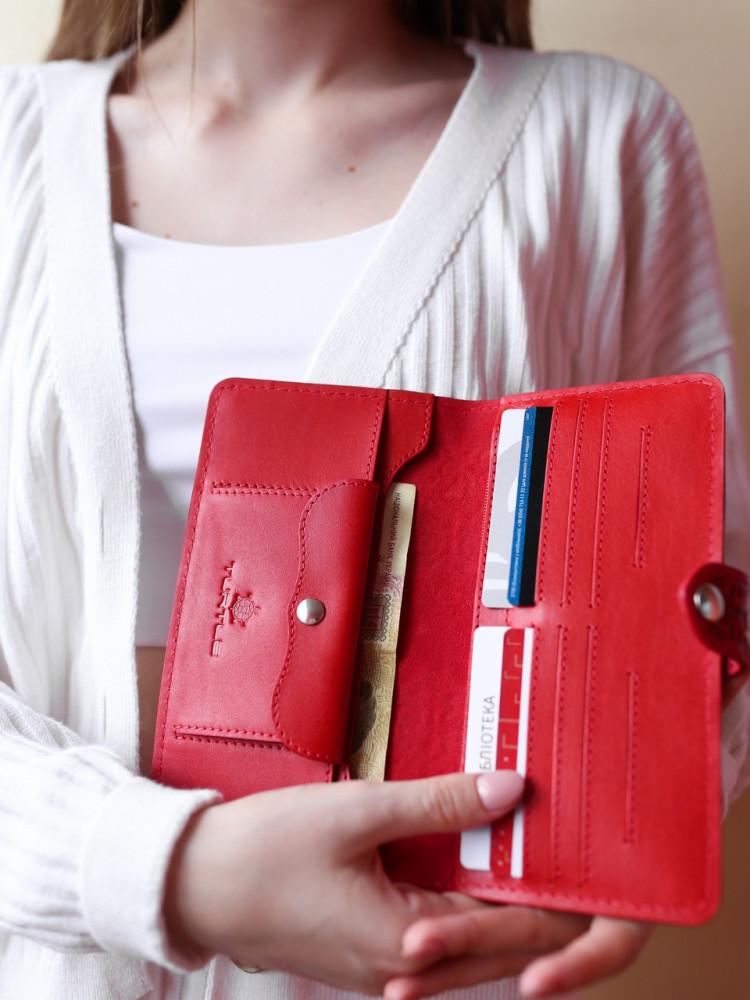 Кожаный кошелёк Turtle Вестерн XL подсолнухи красный