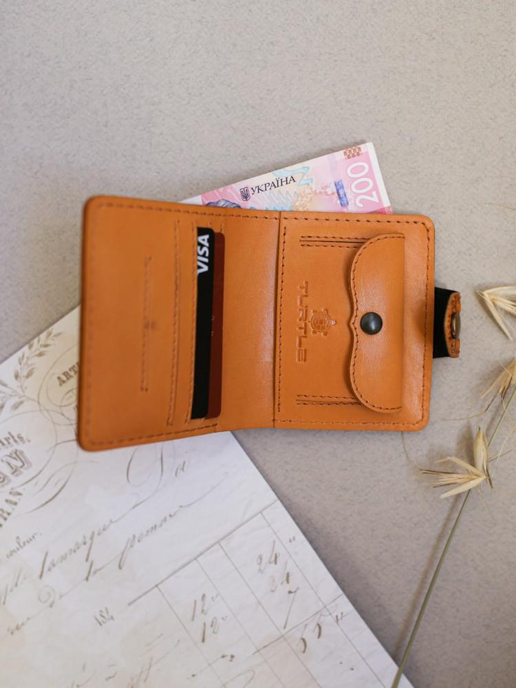 Кожаный кошелёк Turtle Вестерн S восточный узор красный